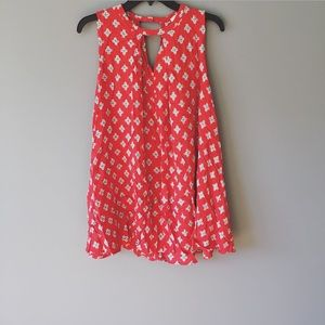 Umgee Red Patterned Sleeveless Blouse Cut Outs Sm
